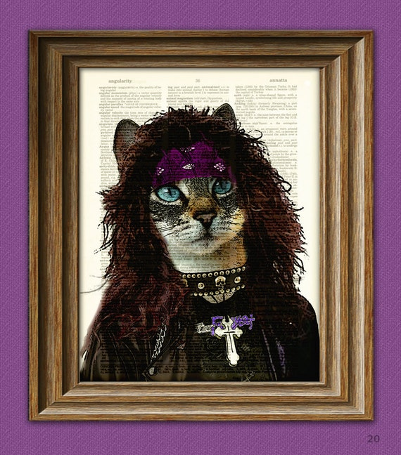 "80's Heavy Metal Cat ""Axl Glitterpuss"" Cat illustration beautifully upcycled dictionary page book art print Hair Metal"