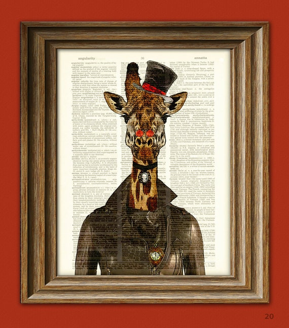"""Steampunk Giraffe """"Countess Cornelia"""" Giraffe with top hat and leather jacket steam punk illustration dictionary page book art print"""