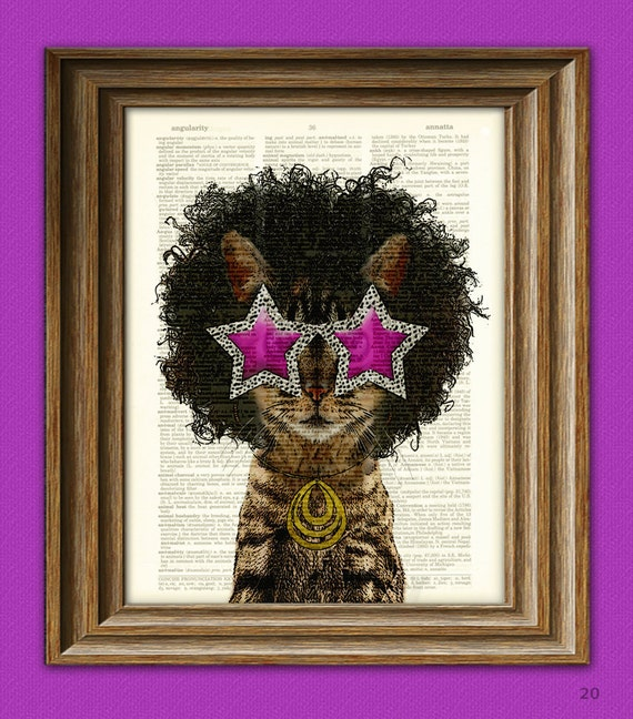 Funky Cat with 70's Star Sunglasses and Funkadelic Afro illustration beautifully upcycled dictionary page book art print
