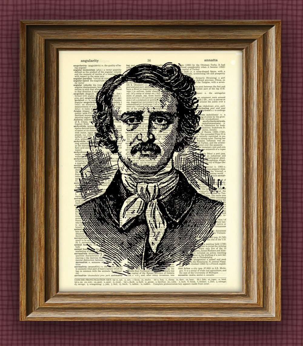 edgar allen poe edgar allan poe print illustration beautifully upcycled dictionary page book art print