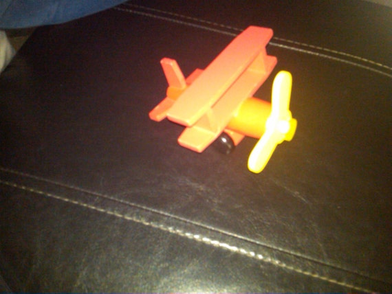 Airplane Wooden  (red)  w moving propellar n wheels -- Unique 20% off all 60 dollar and under vintage listings