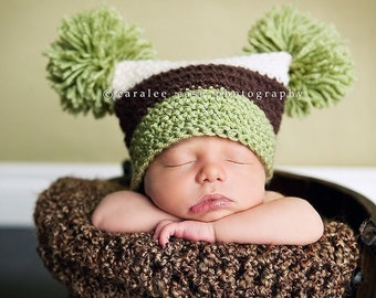 Brown, Green, and Cream Pom Pom Hat