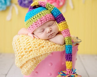 Newborn Baby Girl Elf Hat in Bright Bold Colors