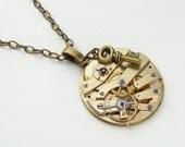 Steampunk Necklace antique gold key wind pocket watch movement brass skeleton key charm vintage unisex pendant by Steampunk Nation 1387
