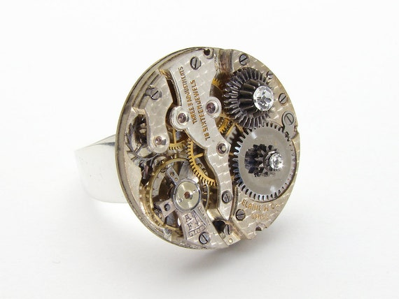 Steampunk Ring vintage watch movement gears Swarovski crystal neo victorian gothic wide silver band watch jewelry by Steampunk Nation 1370