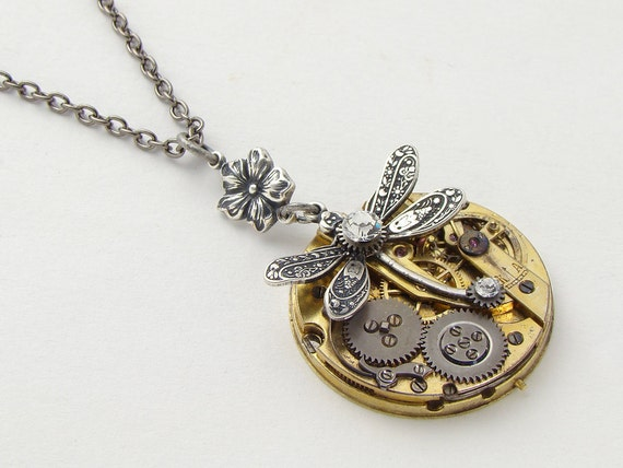 Steampunk Necklace antique gold pocket watch gears silver dragonfly flower Swarovski crystal Neo Victorian pendant by Steampunk Nation 1417