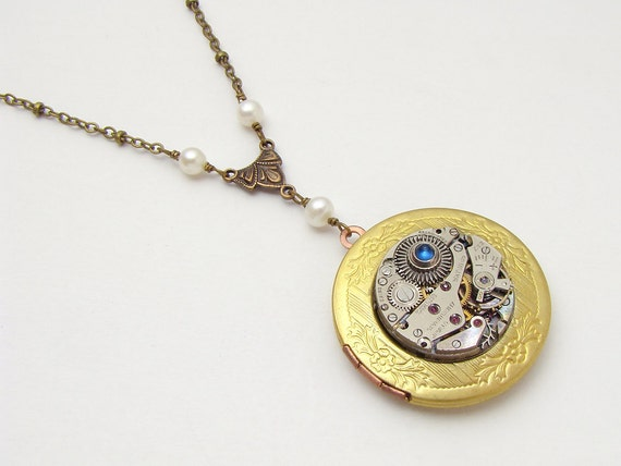 Steampunk Locket Necklace vintage silver watch movement gears pearls blue sapphire leaf gold brass pendant jewelry by Steampunk Nation 1500