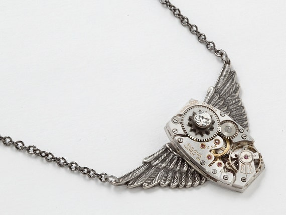 Steampunk Necklace vintage watch movement antique gears silver wings Swarovski crystal unisex pendant jewelry by Steampunk Nation 1497