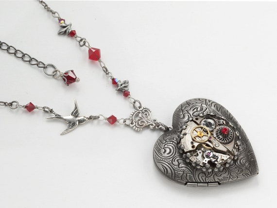 Steampunk Necklace Heart Locket vintage watch movement gears silver bird leaf red garnet crystal pendant jewelry by Steampunk Nation 1526
