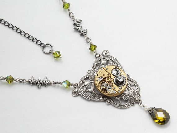 Steampunk Necklace vintage gold watch movement gears silver leaf filigree green crystal pearl jewelry by Steampunk Nation 1546