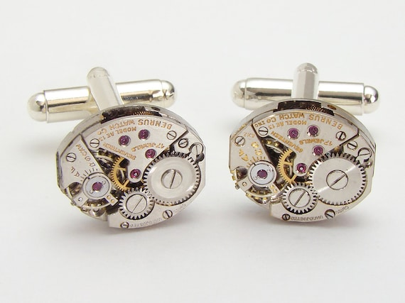 Steampunk Cufflinks vintage petite oval silver watch movements gears wedding mens formal wear cuff links jewelry by Steampunk Nation 1570