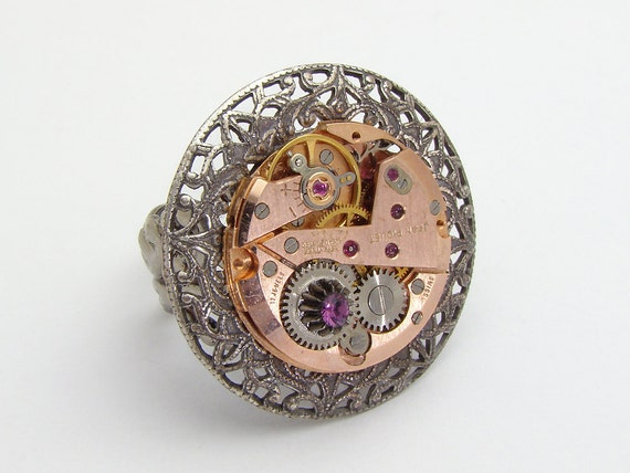 Steampunk Ring vintage rose gold watch movement gears purple crystal Neo Victorian silver filigree Statement jewelry Steampunk Nation 1646