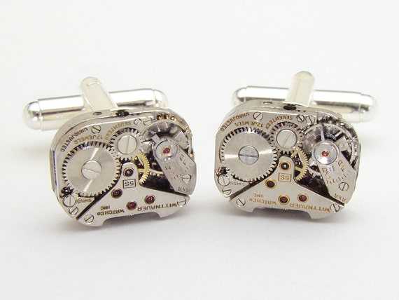 Steampunk cufflinks vintage watch movements gears wedding anniversary grooms gift silver cuff links mens jewelry by Steampunk Nation 1593