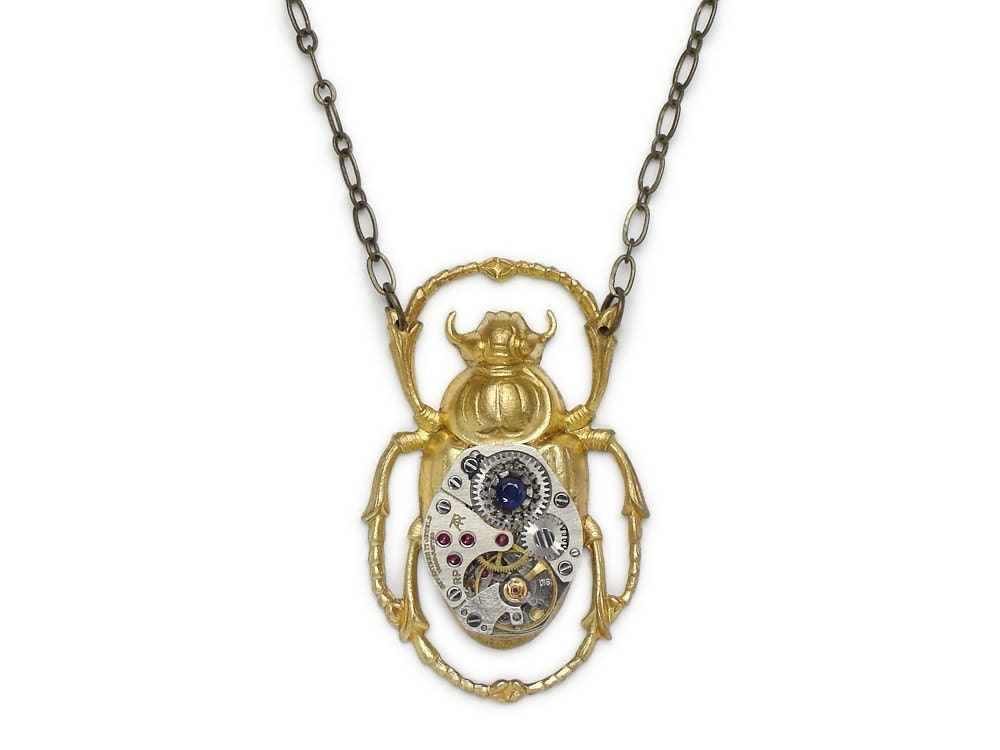 Steampunk Necklace Egyptian gold scarab beetle silver  Steampunk Neckl...