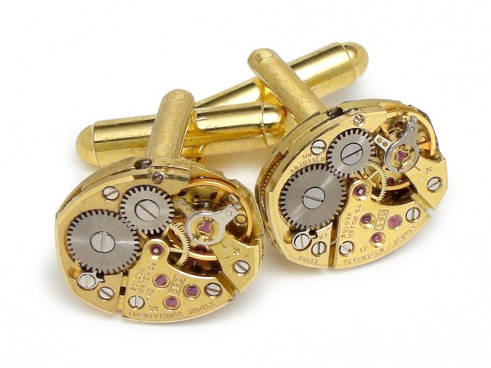 Steampunk Wedding Gifts: Steampunk Cufflinks Gold Bulova Ruby Jewel Petite Oval Watch