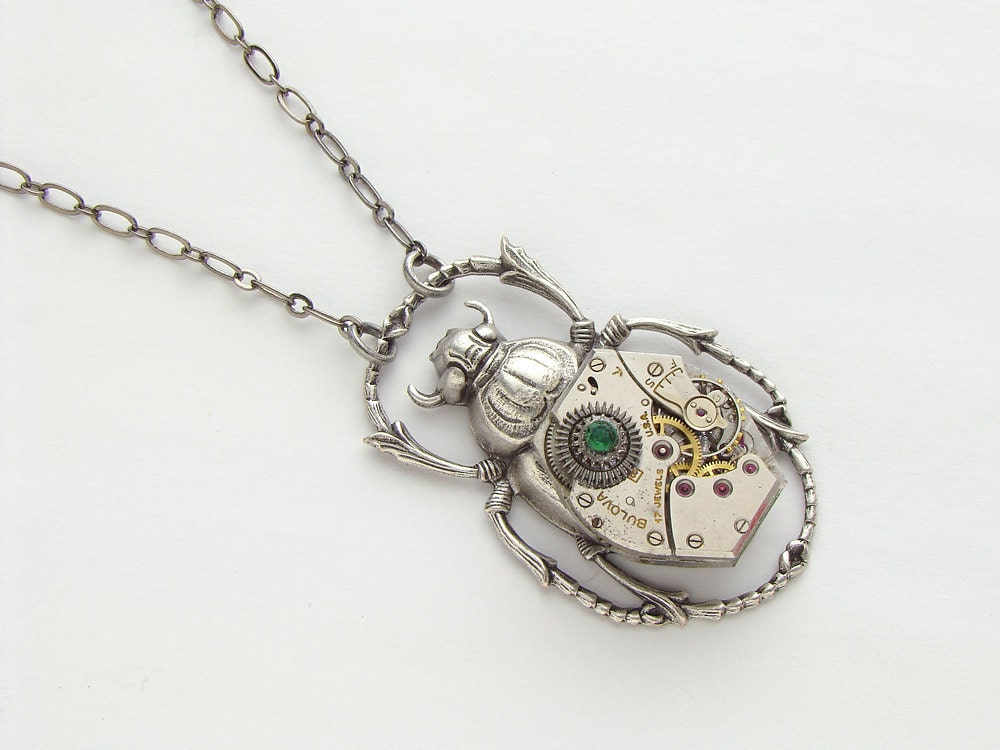 Steampunk Necklace silver scarab beetle vintage wristwatch