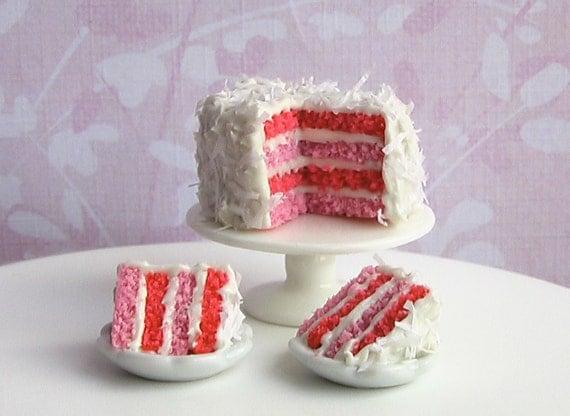 Miniature Cake- Cherry Berry Coconut Cake- 1/12 scale