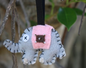 Small Beaded Elephant keychain or ornament