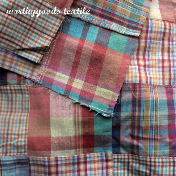 Pastel Madras Cotton Patchwork - Fat Quarter - Ships Free With Another Item Quilting Cotton