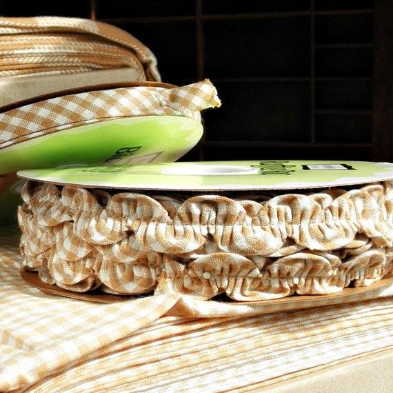 Organic Cotton Check Ribbon -  Yard Bundle - Gingham Check Ric Rac and Bias Tape Fawn and Cream