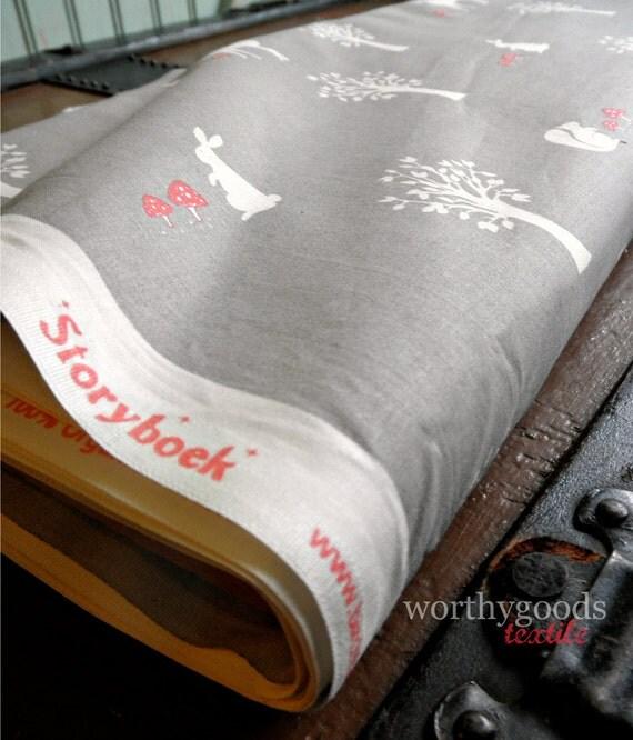 Organic Cotton Grey Coral Woodland Animals - 1 Yard - Field Friends in Shroom NEW Storyboek by Jay-Cyn for Birch Fabric