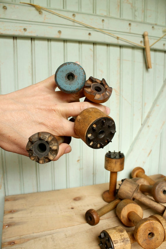 6 Small Vintage Wooden Bobbin Collection - Half Dozen Industrial Era Ratcheted Spools - Organize Ribbons Trims Display