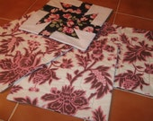 SALE - Pink and Black Sweet Pea  Quilted Placemats, Mother's Day
