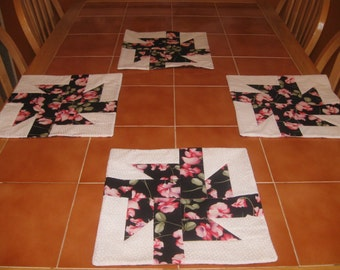 Pink and Black Sweet Pea  Quilted Placemats, Mother's Day, Easter