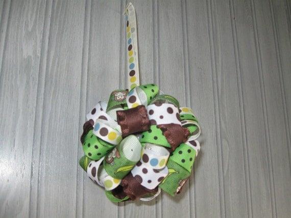 decoration boys baby shower ribbon ornament in monkeys green