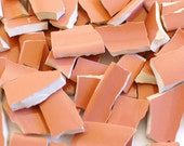 Broken China Mosaic Tile - Recycled Plates - Salmon Pink Solid Color - Set of 100