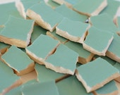 Broken China Mosaic Tiles  - Solid Robins Egg Blue - Pastel - Recycled Plate - Set of 100