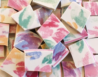Mosaic Tiles - Broken China - Pastel Pink Turquoise Yellow Blue Splashes - Set of 100