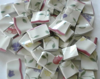 Broken China - Mosaic Tiles - Romantic Flower Garden - Set of 100