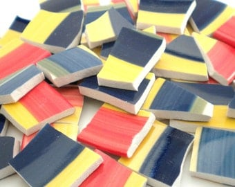 Broken China Mosaic Tile - Colorful Stripes - Recycled Plate - Set of 100