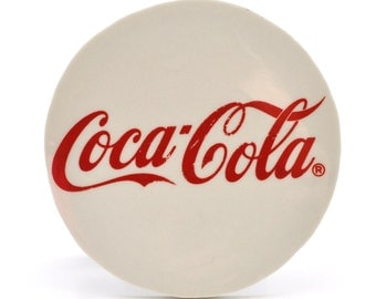 Broken China Mosaic Tile -  Soda Pop - Round Focal - Recycled Plate - Red and White - Logo