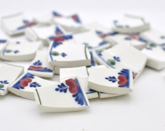 Mosaic Tiles - Vintage Broken China - Blue and Red - Recycled Plate - Set of 50