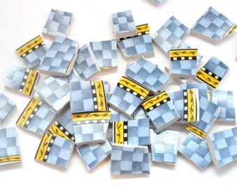 Broken China Mosaic Tiles - Blue Checkers with Yellow Trim - Recycled Plates -  Set of 70