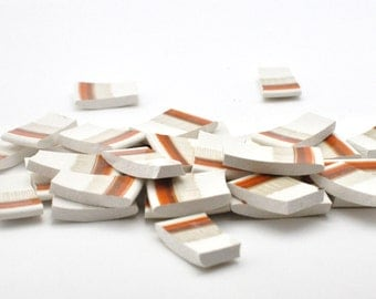 Broken Chian Mosaic Tiles - Recycled Plates - Light Brown and Orange Border - Set of 30
