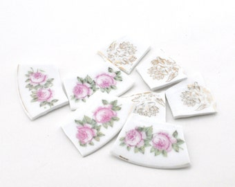 Broken China Mosaic Tiles - Pink Romantic Roses and Gold Blooms - Vintage - Focal - Set of 8