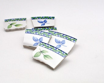 Broken China Mosaic Tiles - Leaves Focal Tile - Set of 6