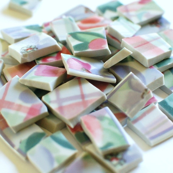 Broken Plate Mosaic Tiles - Pink Plaid and Flowers - Recycled - Set of 130