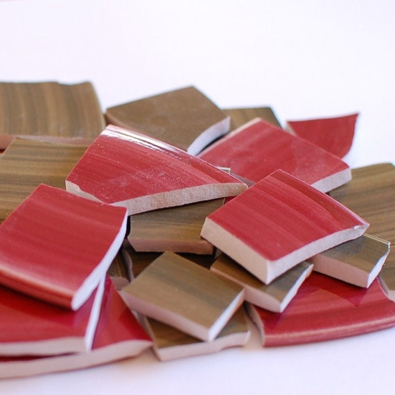Broken China Mosaic Tiles -  Country Red and Green - Set of 100