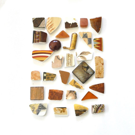 Broken China Mosaic Tiles - In Shades of Brown - Assortment - Cabochon Collection - Set of 30