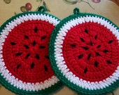 Pair of Crocheted Watermelon Slices  Kitchen Decor / Wall Hangings / Potholders