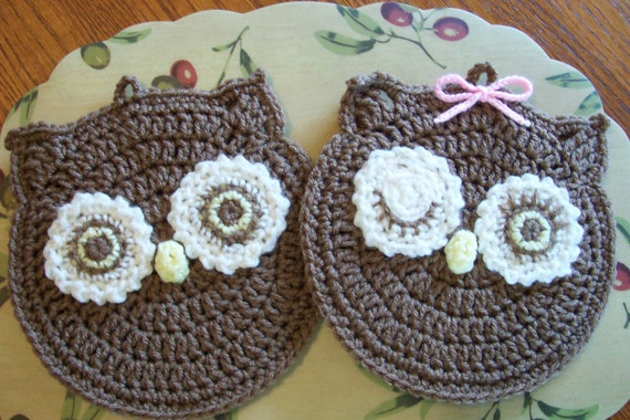 MR and MRS HOOT Wall Hangings / Potholders (pr)