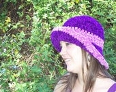 Fall and Winter Velour Crochet Hat In Plum and Pink Ice Cream Social