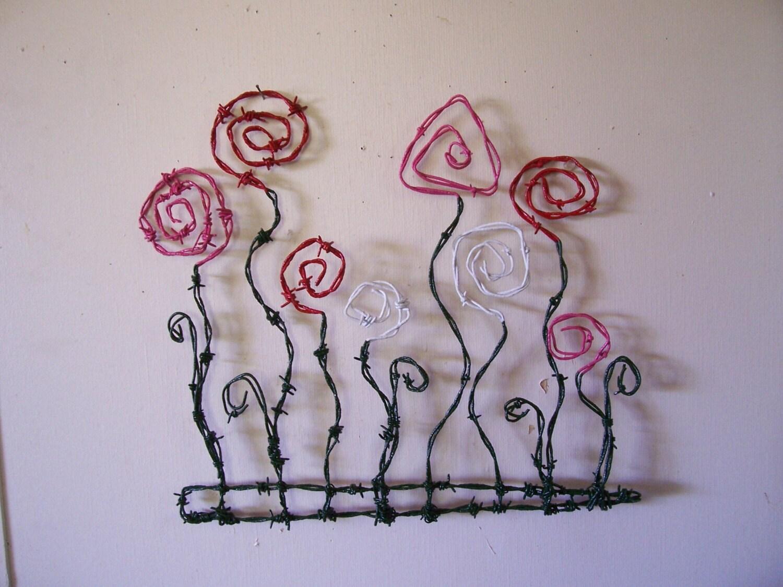 Southwestern handmade rustic barbed wire art fancy cowboy