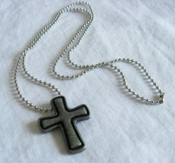 Silver Cross Antique Silver Cross Pendant Unisex Necklace Bead Chain Teen