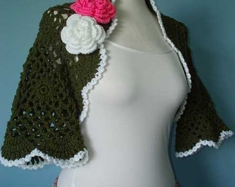 Fashion  Shrug or Scarf and Flowers Brooch