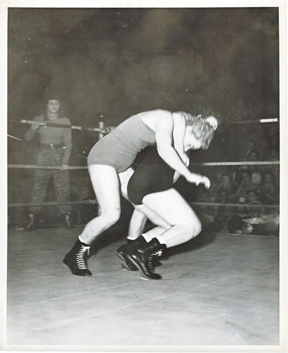 Retro wrestling lady action photo girl on girl head by oddbirds
